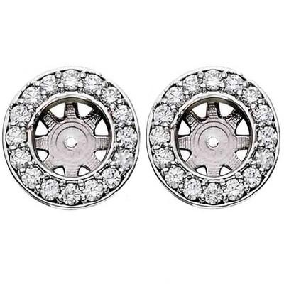 Pompeii3 3/4ct Halo Diamond Studs Earring Jackets White Gold (6-6.5mm)