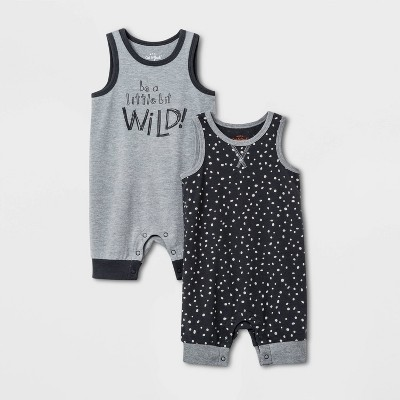 Baby Boys' 2pk Wild Romper Set - Cat & Jack™ Gray 6-9M