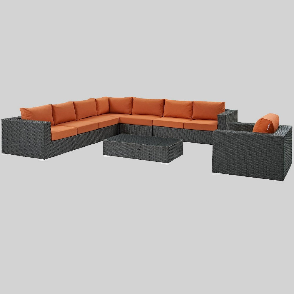 Sojourn 7pc Outdoor Patio Sunbrella Sectional Set - Tuscan - Modway