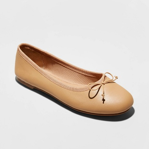 Women's Alyssa Faux Leather Bow Ballet Flats - A New Day™ - image 1 of 3
