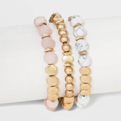 Semi-Precious White Howlite & Sunstone Stretch Multi-Strand Bracelet Set - Universal Thread™ Worn Gold