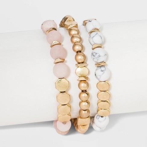 Semi-Precious White Howlite & Sunstone Stretch Bracelet Set - Universal Thread™ Worn Gold - image 1 of 1