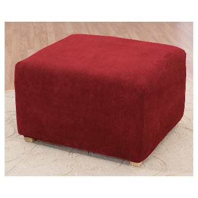 Garnet Stretch Pique Slip Ottoman - Sure Fit, Red
