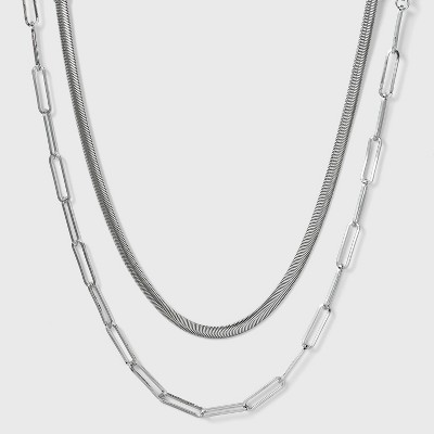 SUGARFIX by BaubleBar Metallic Necklace Set - Silver