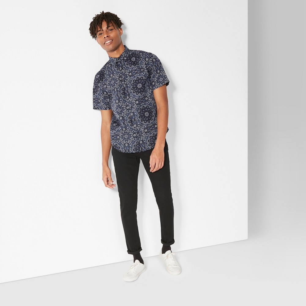 Men's Bandana Print Short Sleeve Button-Down Shirt - Original Use Oceanique 2XL, Blue