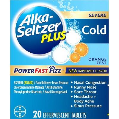 Alka-Seltzer Plus NSAID Cold PowerFast Fizz Tablets - Orange Zest - 20ct
