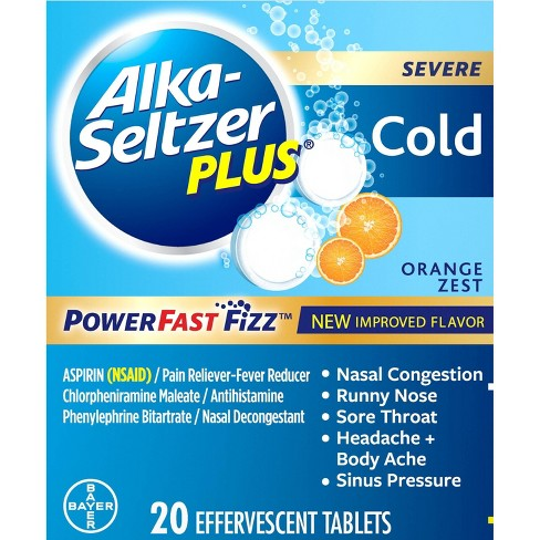Alka-Seltzer Plus NSAID Cold PowerFast Fizz Tablets - Orange Zest - 20ct - image 1 of 4