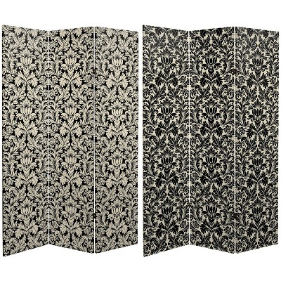 """6"""" Double Sided Damask Canvas Room Divider White/Gray/Black - Oriental Furniture"""
