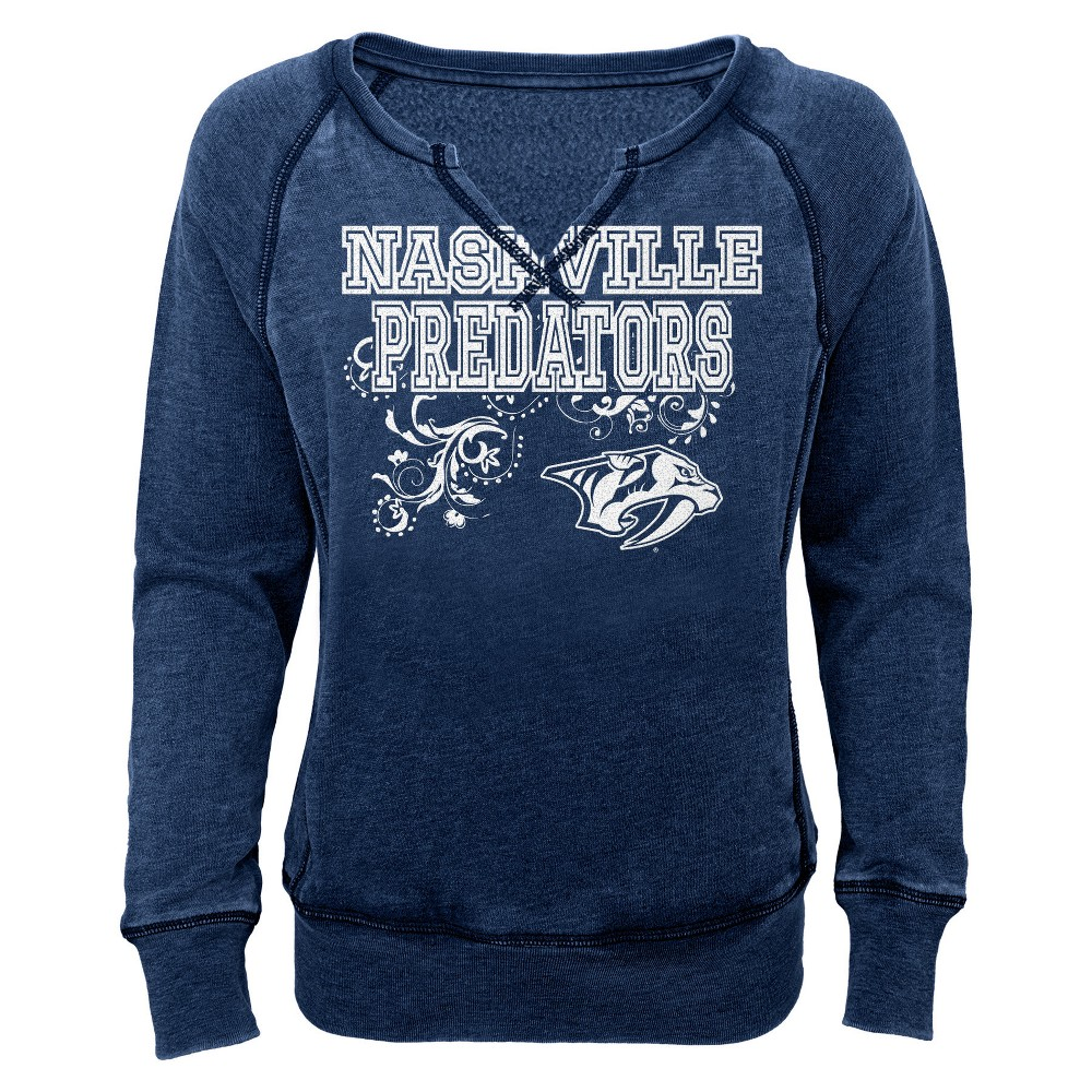Nashville Predators Girls' Open Neck Fleece Sweatshirt S