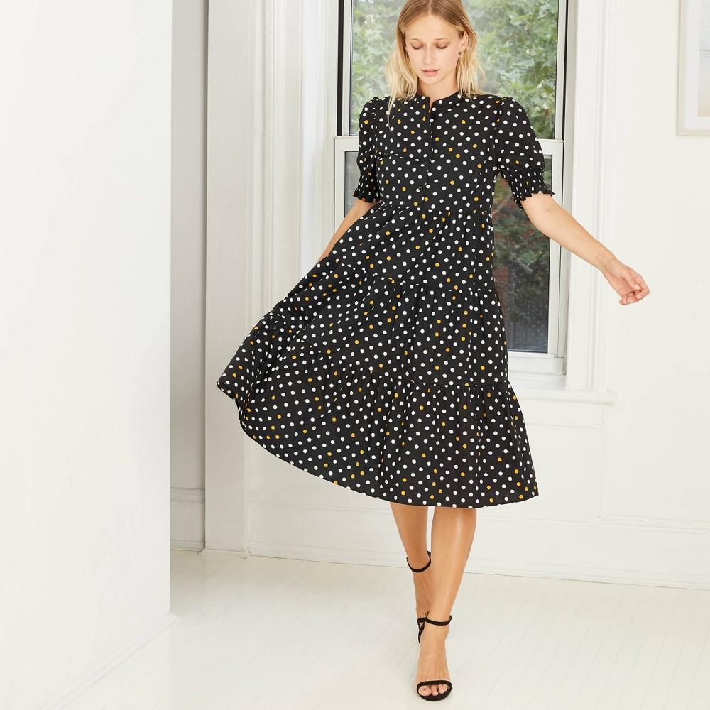 Polka Dot Dresses: 20s, 30s, 40s, 50s, 60s Womens Plus Size Polka Dot Print Puff Short Sleeve Babydoll Dress - Who What Wear Black 4X Dark Black $39.99 AT vintagedancer.com
