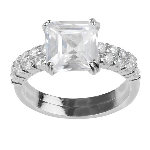 3 1/5 CT. T.W. Cushion-cut CZ Prong Set Wedding Ring Set in Sterling Silver - image 1 of 2