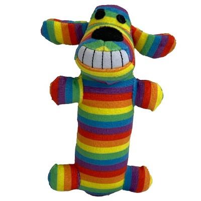 "Multipet Pride Loofa Rainbow Stripes Dog Toy - 6"""