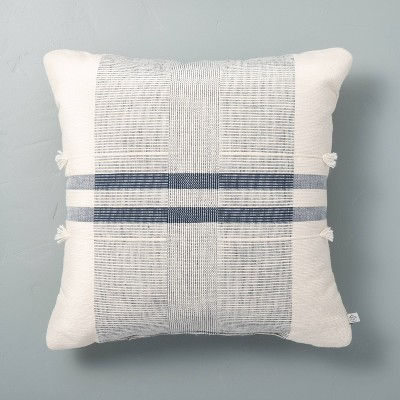 "18"" x 18"" Center Band Stripes Throw Pillow Blue - Hearth & Hand™ with Magnolia"