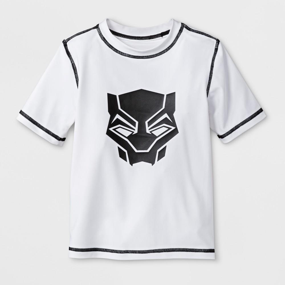 Toddler Boys' Marvel Black Panther Rash Guard - White 2T