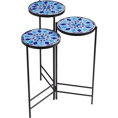 Teal Island Designs Blue Mosaic Black Iron Set of 3 Accent Tables