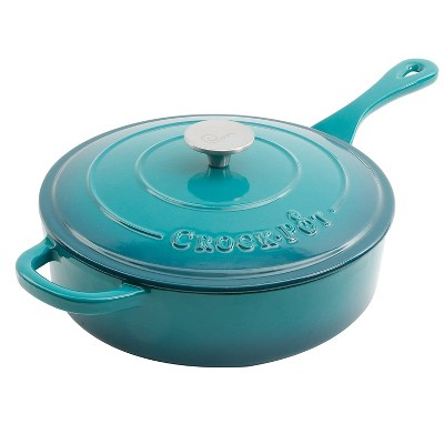 Crock Pot 112013.02 Artisan 3.5 Quart Enameled Cast Iron Saute Pan with Matching Lid and Non Stick Interior, Teal Ombre
