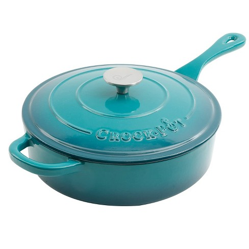 Crock Pot 112013.02 Artisan 3.5 Quart Enameled Cast Iron Saute Pan with Matching Lid and Non Stick Interior, Teal Ombre - image 1 of 2