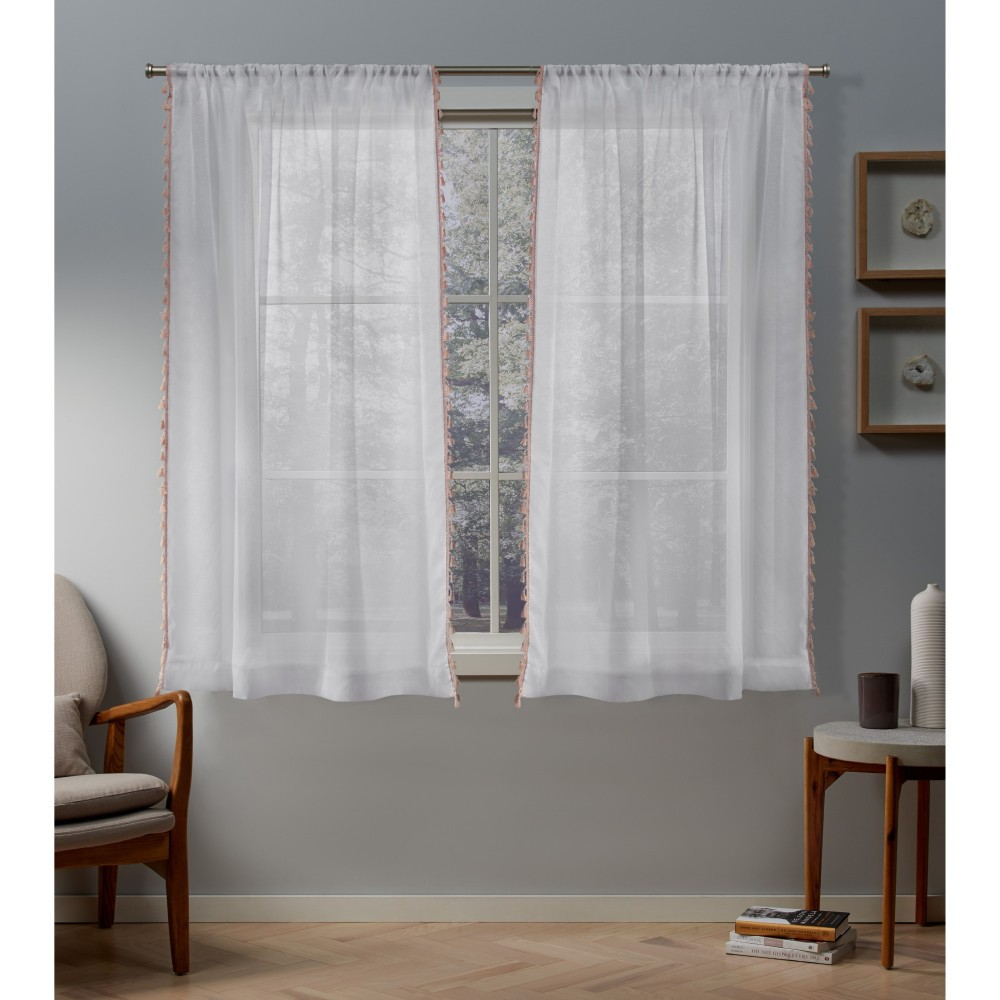 Set of 2 63x54 Tassels Sheer Rod Pocket Window Curtain Panel Blush - Exclusive Home Reviews