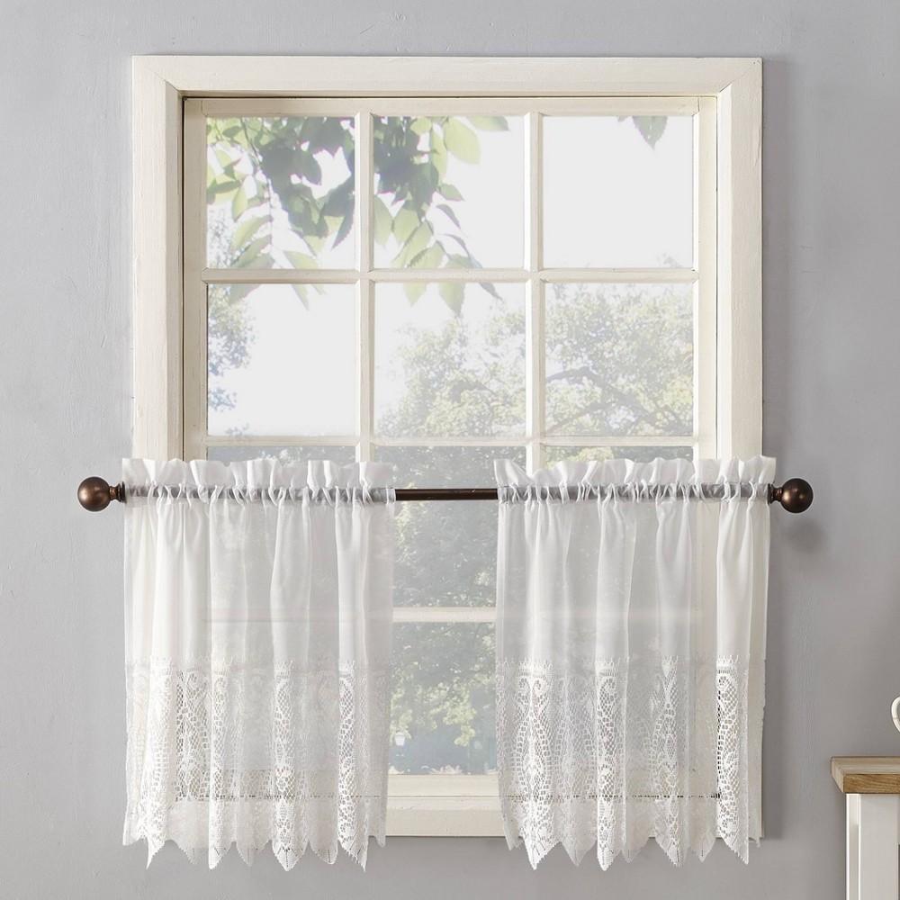Set Of 2 38 34 X30 34 Joy Classic Lace Kitchen Curtain Swag Ivory No 918