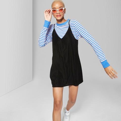02cc9047a519c Women s Striped Velvet Strappy Dress - Wild Fable™ Black XS   Target