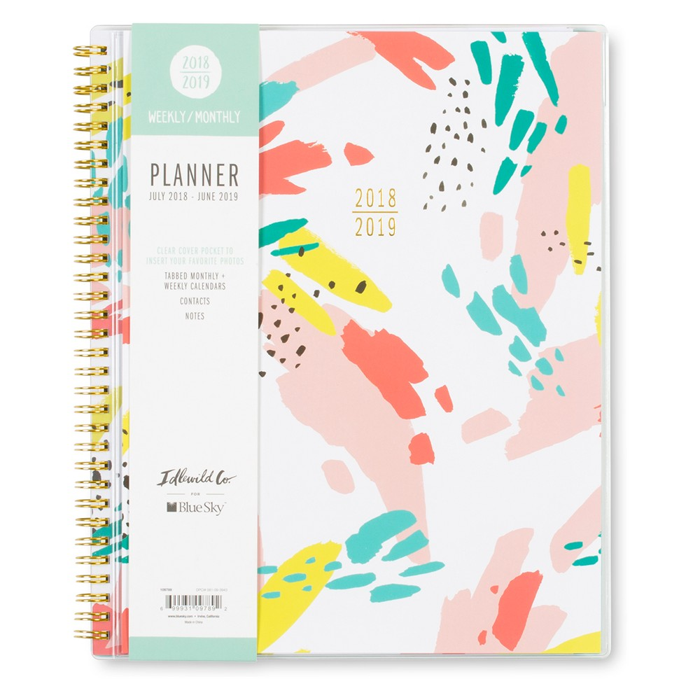 2018-19 Academic Planner 8.5 x 11 Tropical Pattern - Blue Sky, Multi-Colored