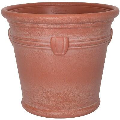 Suncast Waterton 18 Inch Resin Round Decorative Flower Pot Planter, Terracotta