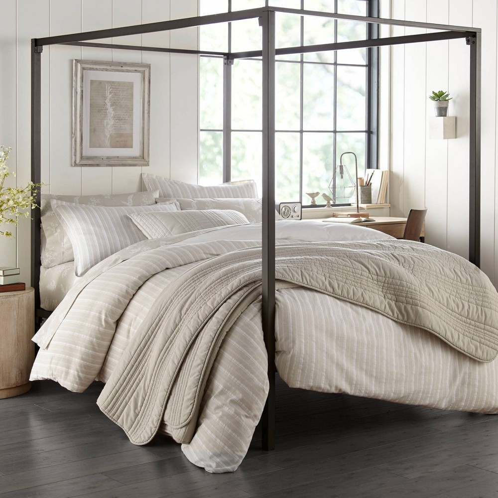 Stone Cottage Full Queen Oakdale Comforter 38 Sham Set Gray