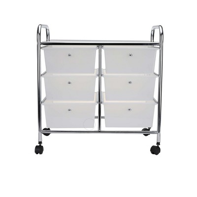 Mind Reader Storage Drawer Rolling Utility Cart, 6 Drawer Organizer, White