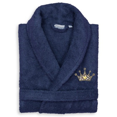 S/M Terry Bathrobe with Cheetah Crown Embroidery Navy - Linum Home Textiles