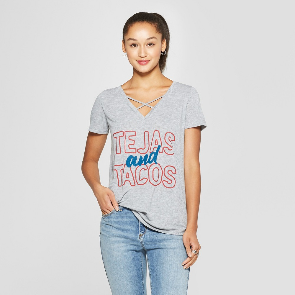 Women's Short Sleeve Tejas and Tacos Graphic T-Shirt - Awake Heather Gray L