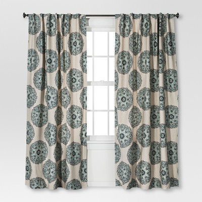 Naturals Medallion Curtain Panel Blue (54 X84 )- Threshold™