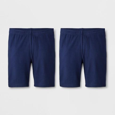 Girls 2pk Mid Length Bike Shorts Cat Jack Navy