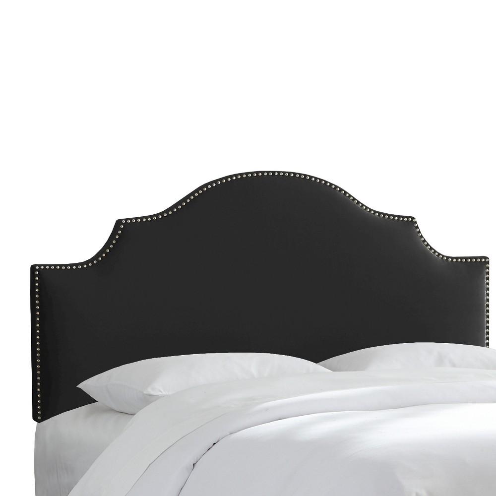 Queen Nail Button Notched Headboard Velvet Black - Threshold