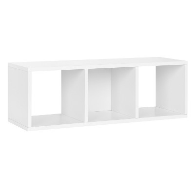 Way Basics Stackable 3 Cubby Eco Storage and Shoe Organizer White