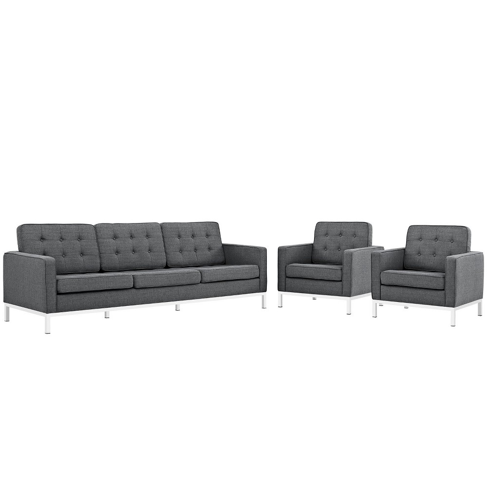 Set of 3 Sofa, Accent Chairs Loft Living Room Set Upholstered Fabric Gray - Modway