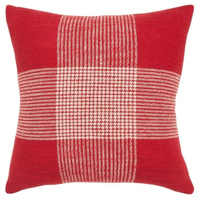 """20""""x20"""" Oversize Plaid Poly Filled Square Throw Pillow - Rizzy Home"""