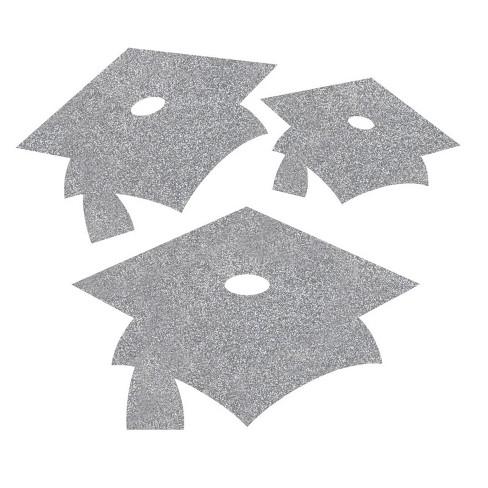 36ct Mortarboard Graduation Cutouts Silver - image 1 of 2