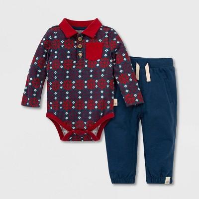 Burt's Bees Baby® Baby Boys' Organic Cotton Snowflake Fair Isle Polo Bodysuit and French Terry Pants Set - Blue 3M