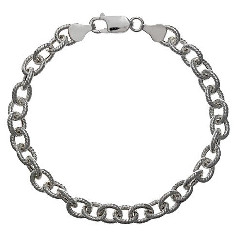 "Women's Twisted Oval Bracelet in Sterling Silver - Gray (7.5"") - image 1 of 1"