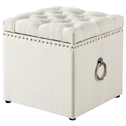 Cream White Linen Storage Ottoman - Markella - Chrome Nailhead in White - Posh Living - image 1 of 3