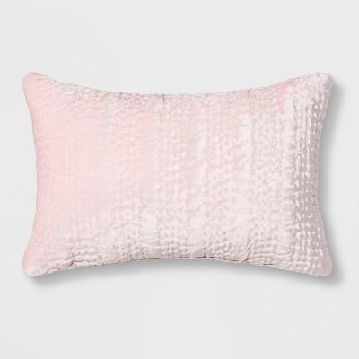 Quilted Velvet Lumbar Throw Pillow Light Pink - Opalhouse™