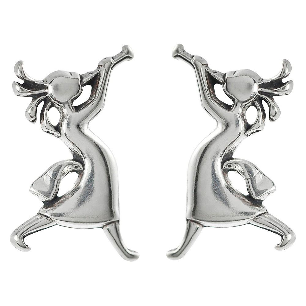 Women's Journee Collection Sterling Silver Kokopelli Stud Earrings - Silver