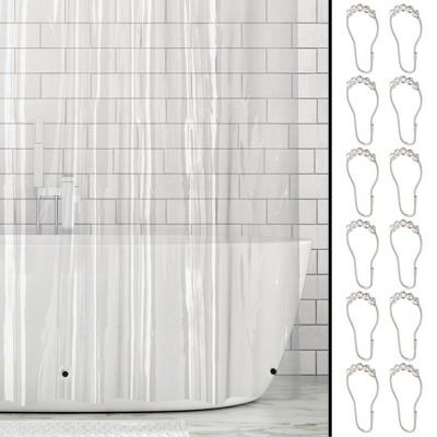 """mDesign Waterproof PEVA Shower Curtain Liner, 3 Gauge, 72"""" x 72"""", 4 Pack - Clear"""