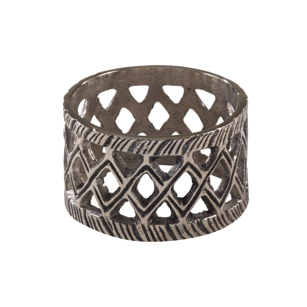 Silver Diamond Cutout Design Ethnic Tribal Style Napkin Ring Set of 4 - Saro Lifestyle