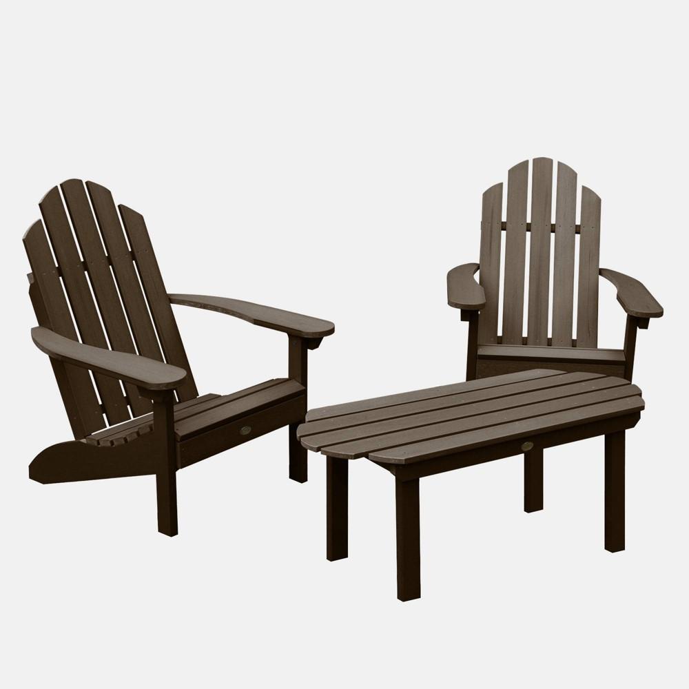 Image of 3pc Classic Westport Adirondack Rocking Chair Patio Set Weathered Acorn - highwood