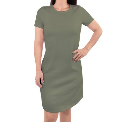 Touched by Nature Womens Organic Cotton Short-Sleeve Dress, Olive Green