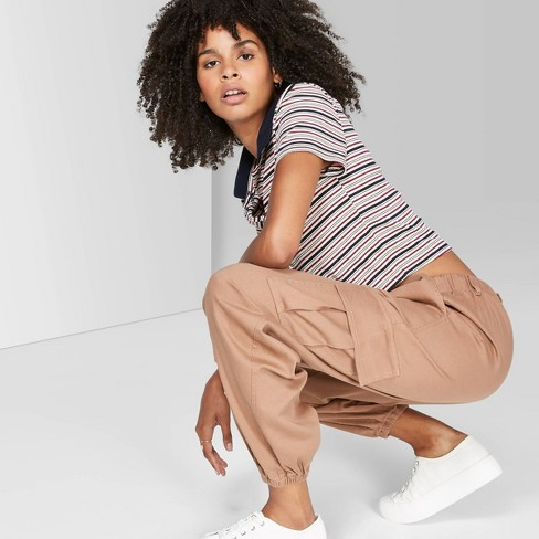 Women's High-Rise Baggy Relaxed Cargo Pants - Wild Fable™ Light Brown - image 1 of 3