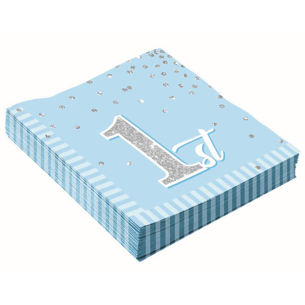 Image of 16ct 1st Birthday Napkins Blue