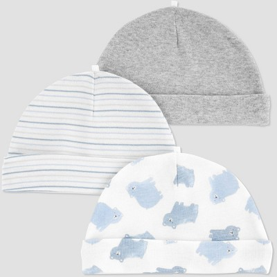 Baby Boys' 3pk Cap - Just One You® made by carter's Blue 0-3M