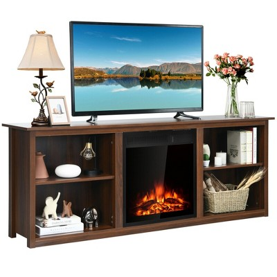Costway 70'' 2-Tier TV Fireplace Stand W/22.5'' Electric Fireplace Up to 75''
